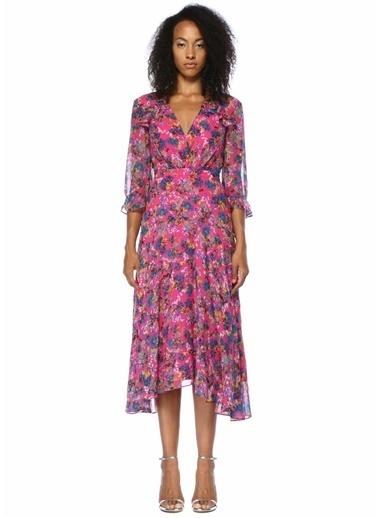 Saloni Çiçekli V Yaka Fırfırlı Midi İpek Elbise Renkli